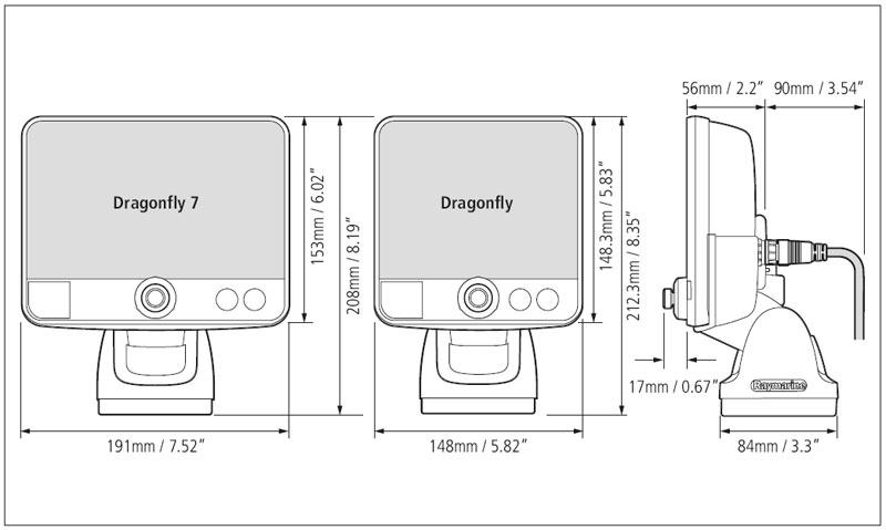 Размеры Raymarine Dragonfly6 /Габариты Dragonfly7