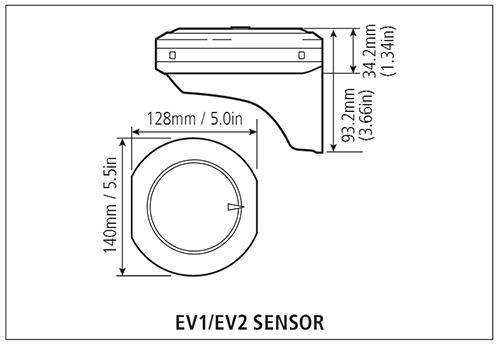 Размеры Raymarine EV-1 и EV-2