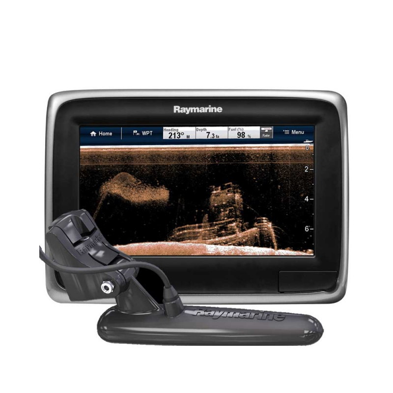 "a78 7"" Multifunctional Display with Built-in DownVision Fishfinder, CPT-100 Transom Mount Transducer, No chart