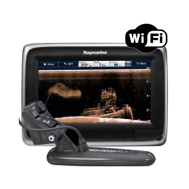"a78 7"" Multifunctional Display with Built-in DownVision Fishfinder and Wi-Fi, CPT-100 Transom Mount Transducer, No chart